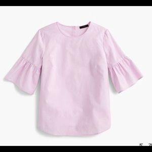 J. Crew button back bell sleeve shirt top lavender